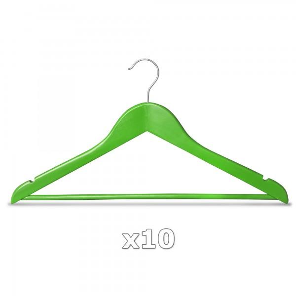 Ramínko dřevěné - zelené 10 ks s tyčkou na kalhoty, otočný háček