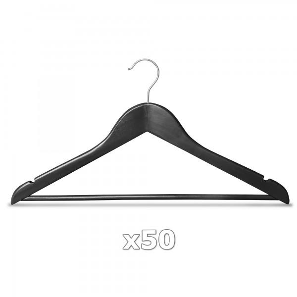Ramínko dřevěné - černé 50 ks s tyčkou na kalhoty, otočný háček