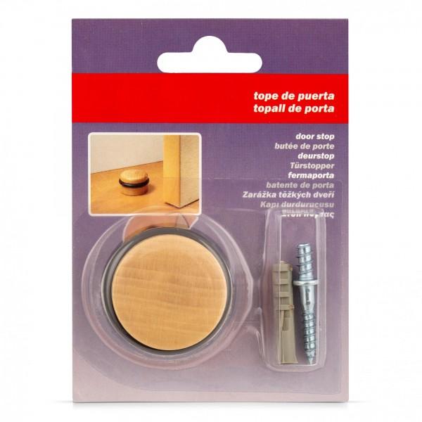 Dřevěná dveřní zarážka z buku kulatá s gumovým kroužkem - našroubovatelná