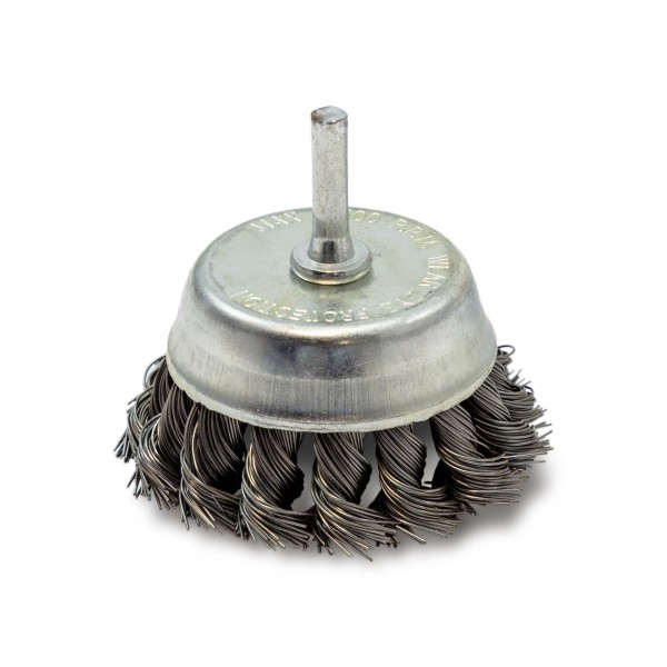 Kartáč hrnkový copánkový, ∅75 mm, vlnitý drát S 0,5 mm, EXTOL CRAFT