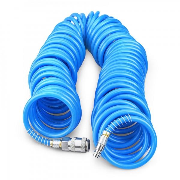 15 m hadice vzduchová spirálová PU 6 mm s mosaznými rychlospojkami