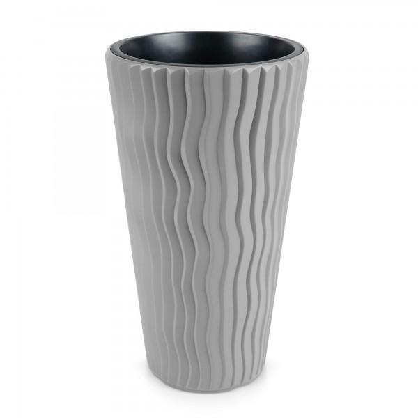 Úzký květináč pouštní písek Ø 390 mm kamenně šedý sandy slim DPSP400