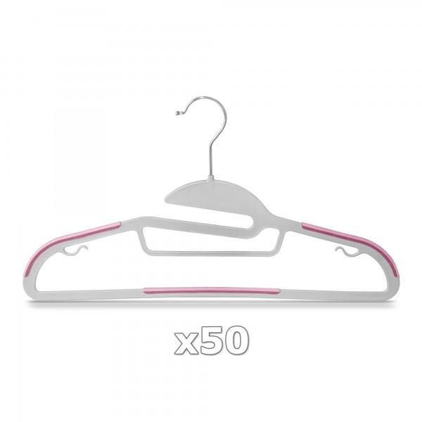 Plastové ramínko na oděvy růžové 50 ks