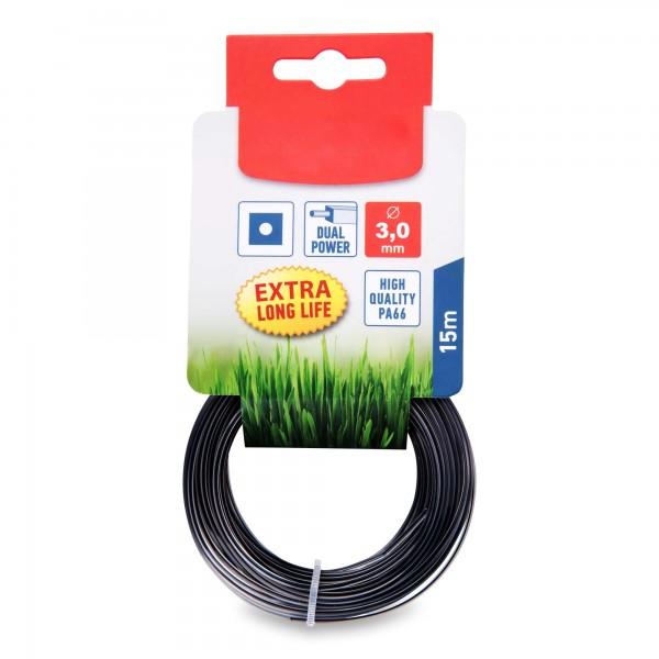 Žací struna do sekačky s jádrem, čtvercový profil, 3 mm, 15m, PA66