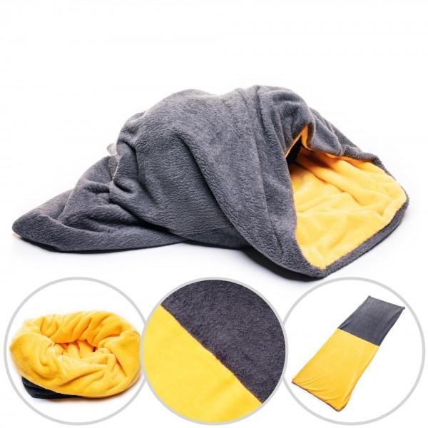 Psí deka 3 v 1 De Luxe šedá oranžová 74 x 60 cm deka pro psa