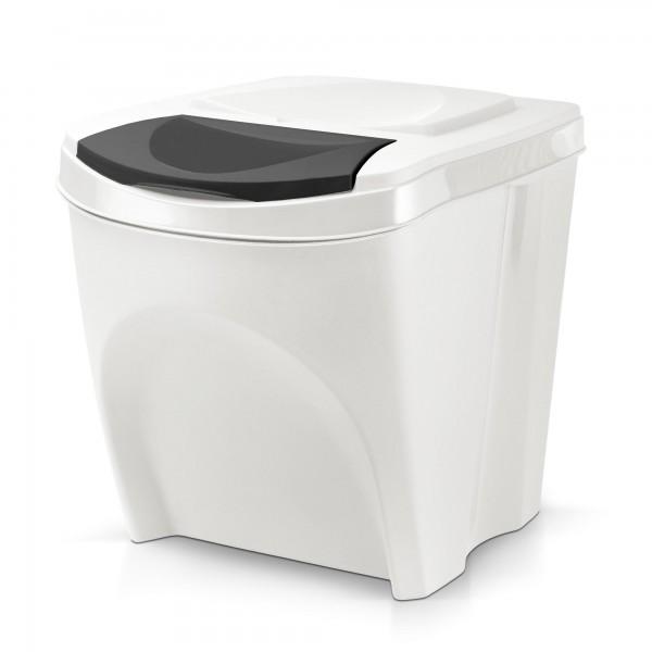 Stohovatelný plastový odpadkový koš - bílý - 20 L