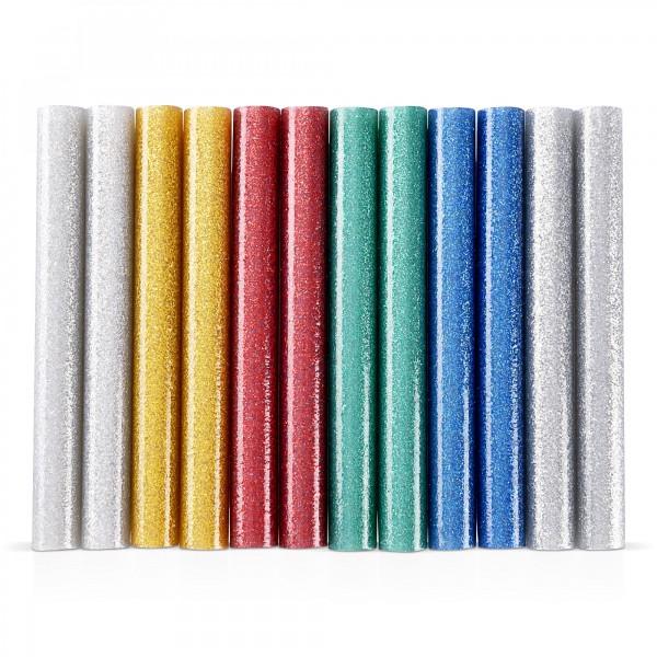 12 ks tyčinky tavné, mix barev se třpytem Ø 11 x 100 mm