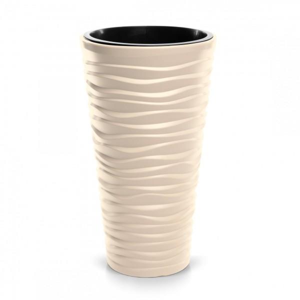 Prosperplast květináč Sand Slim 29,6 cm krémový + plastová vložka