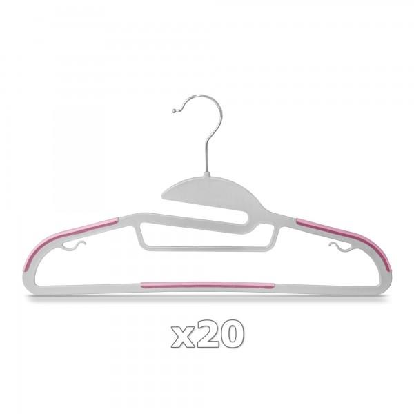 Plastové ramínko na oděvy růžové 20 ks