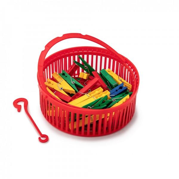 50 ks barevných plastových kolíčků na prádlo v košíku - 72 mm