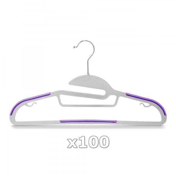 Plastové ramínko na oděvy fialové 100 ks