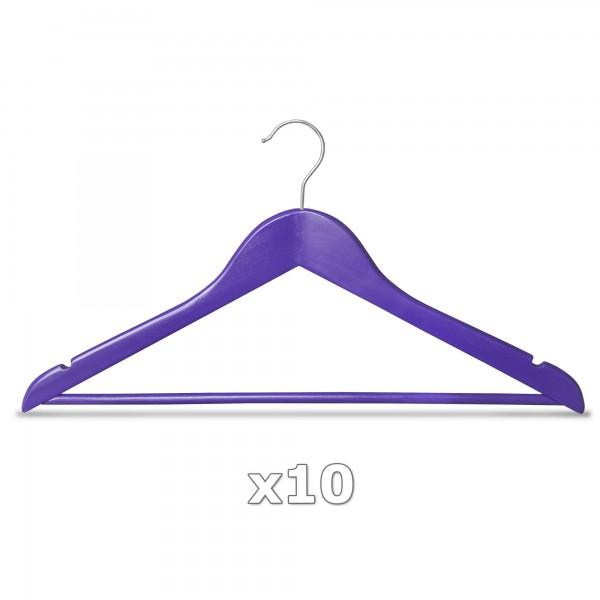 Ramínko dřevěné - fialové 10 ks s tyčkou na kalhoty, otočný háček