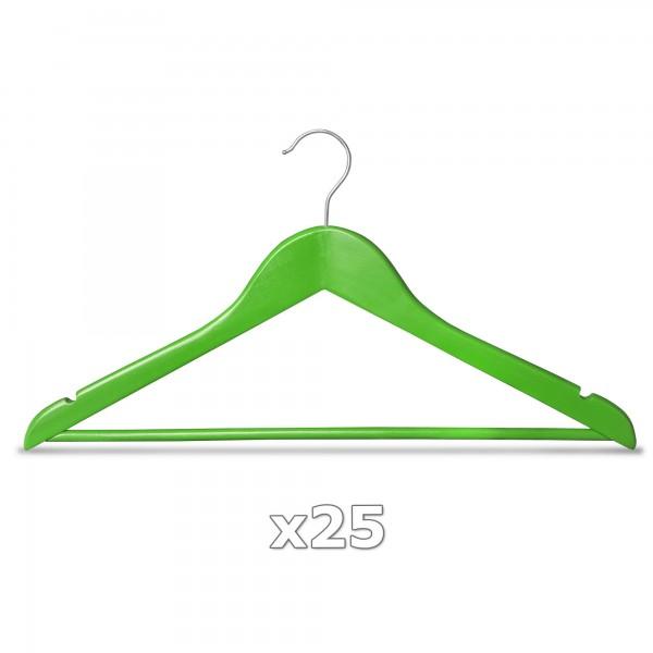 Ramínko dřevěné - zelené 25 ks s tyčkou na kalhoty, otočný háček