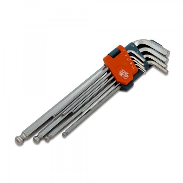 L-klíče imbus s kuličkou, prodloužené, sada 9 ks, Premium (vel. 1,5 - 10)