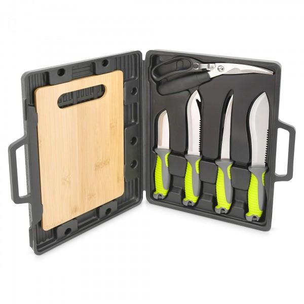 Grilovací nože sada v kufru 6 ks-krájecí prkénko/nůžky
