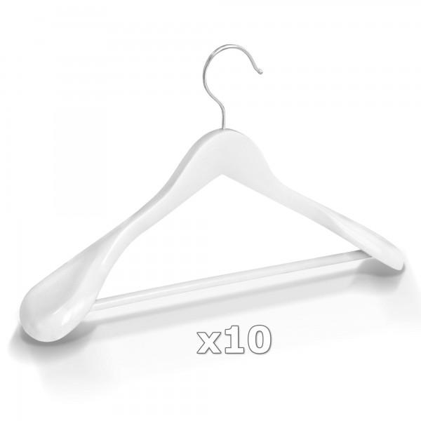 Dřevěné ramínko na oděvy šaty - bílé 10 ks