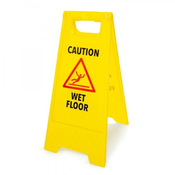 Výstražná cedule: Pozor kluzká podlaha - anglicky - 295 x 610 mm - žlutá