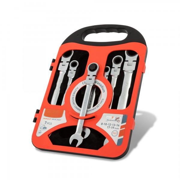 Sada 7 ráčnových očkoplochých klíčů (8 - 19 mm)
