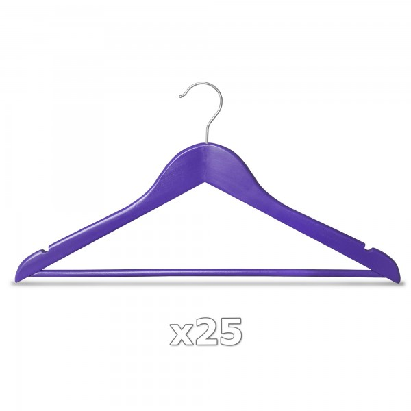 Ramínko dřevěné - fialové 25 ks s tyčkou na kalhoty, otočný háček