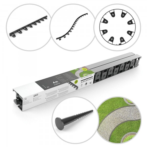 Obruba trávníku - 4 prvky x 1 m + 16 montážních kotev palisáda
