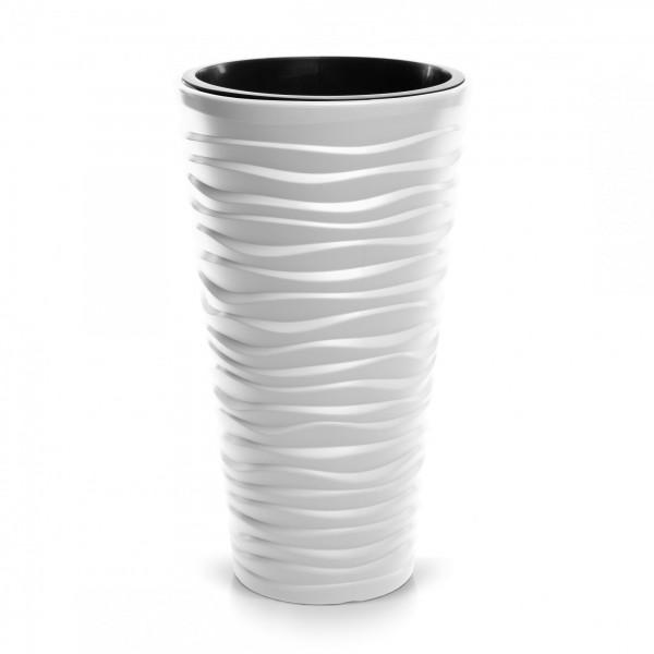 Prosperplast květináč Sand Slim 34,9 cm bílý + plastová vložka