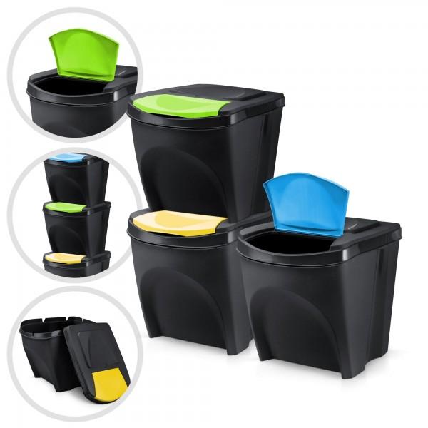 3 x plastový odpadkový koš - černý - 3 x 20 L - stohovatelný