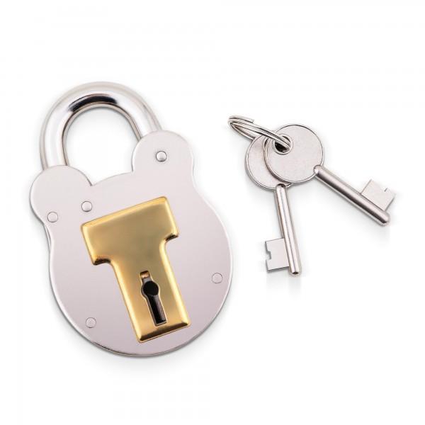 Anglický visací zámek ocel/mosaz s dvěma klíči