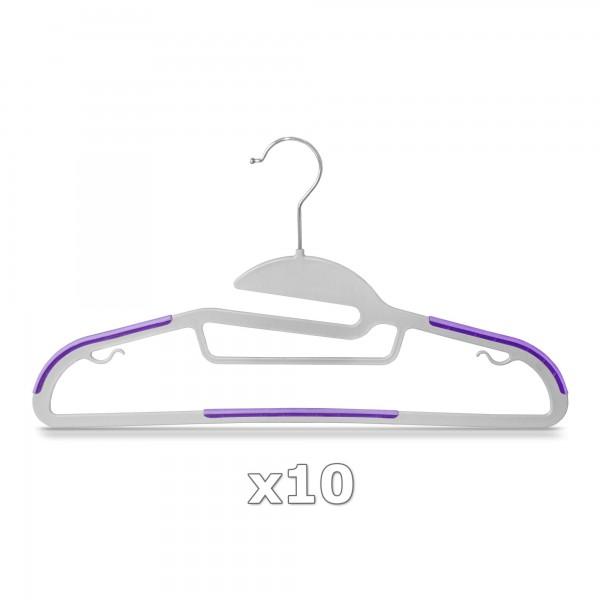 Plastové ramínko na oděvy fialové 10 ks