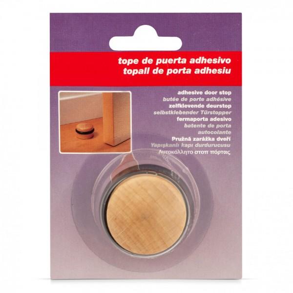 Dřevěná kulatá dveřní zarážka z buku samolepicí s gumovým kroužkem