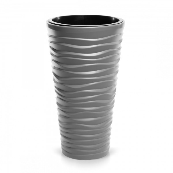 Prosperplast květináč Sand Slim 29,6 cm šedý kámen + plastová vložka