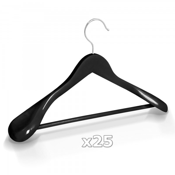 Dřevěné ramínko na oděvy šaty - černé 25 ks
