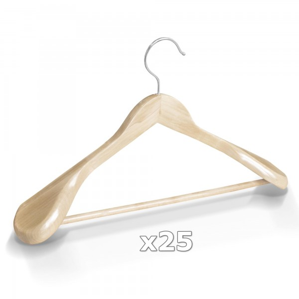 Dřevěné ramínko na oděvy natur 25 ks