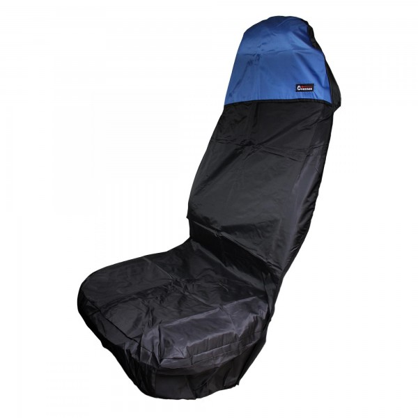 Potah ochranný na sedadlo s kapsami, polyester - černá/modrá