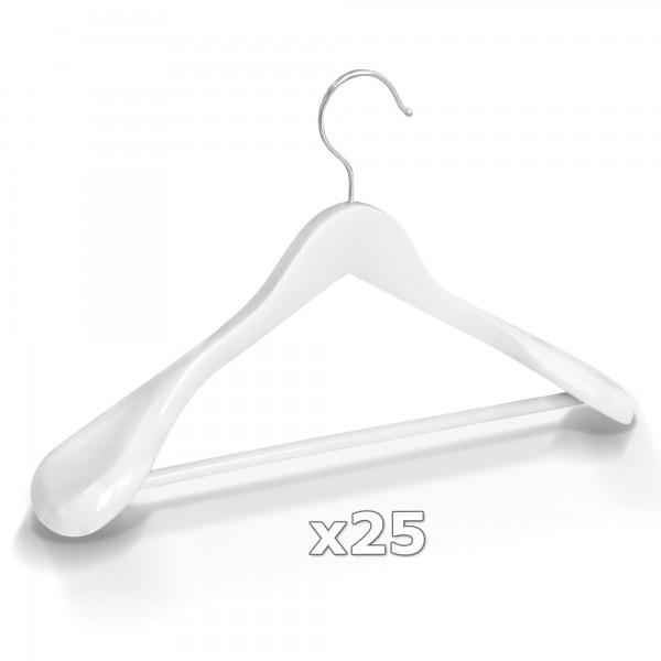 Dřevěné ramínko na oděvy šaty - bílé 25 ks