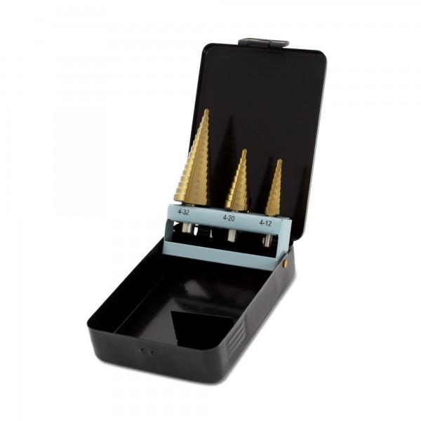 Vrtáky stupňovité, sada 3ks, ∅4-12/1mm, ∅4-20/2mm, ∅4-32/2mm