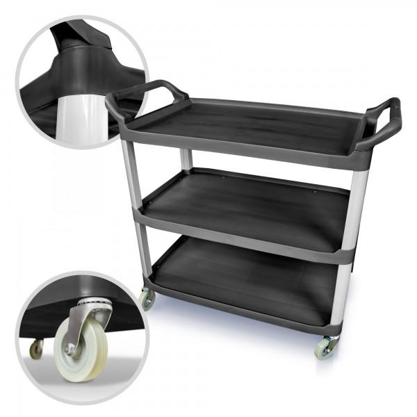 Servírovací vozík 3 patrový černý plastový