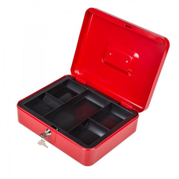 Uzamykatelná schránka na peníze 30 x 24 x 9 cm červená se dvěma klíčemi