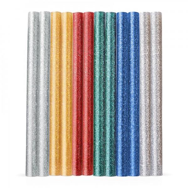 12 ks tyčinky tavné, mix barev se třpytem Ø 7,2 x 100 mm