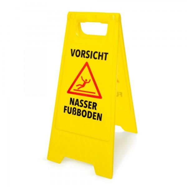 Výstražná cedule: Pozor kluzká podlaha - německy - 295 x 610 mm - žlutá