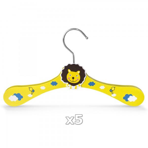 Dřevěné ramínko pro děti na oděvy lev 5 kusů
