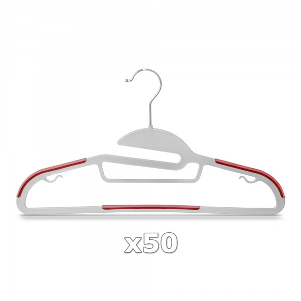 Plastové ramínko na oděvy červené 50 ks