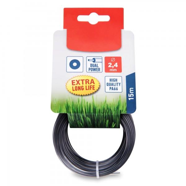 Žací struna 2,4 mm délka 15 m kulatá pro strunové sekačky