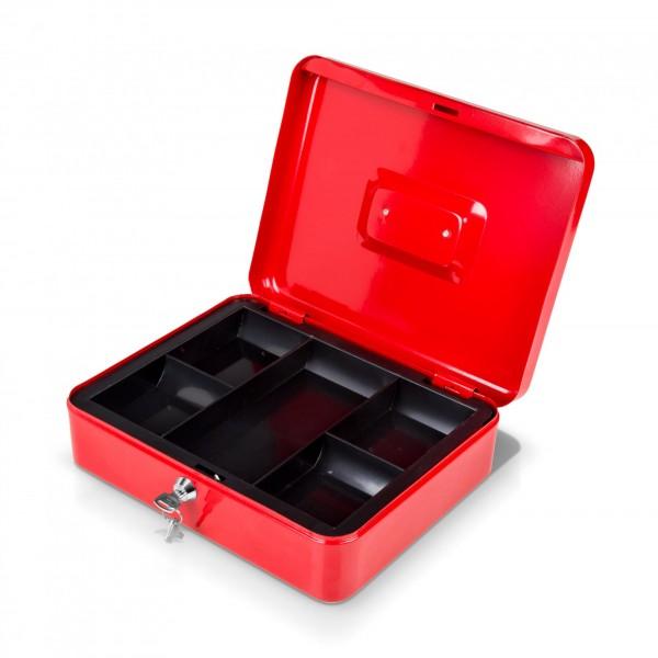 Uzamykatelná schránka na peníze 20 x 16 x 9 cm červená se dvěma klíčemi