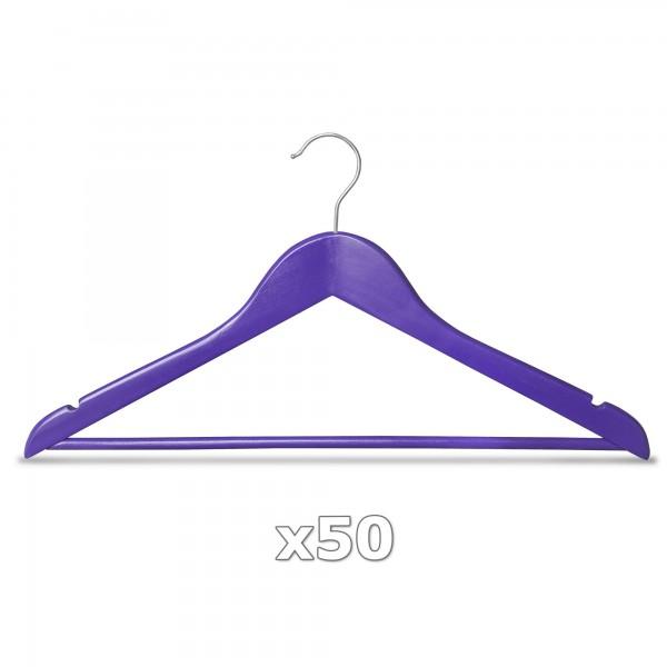 Ramínko dřevěné - fialové 50 ks s tyčkou na kalhoty, otočný háček