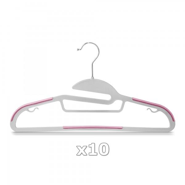 Plastové ramínko na oděvy růžové 10 ks