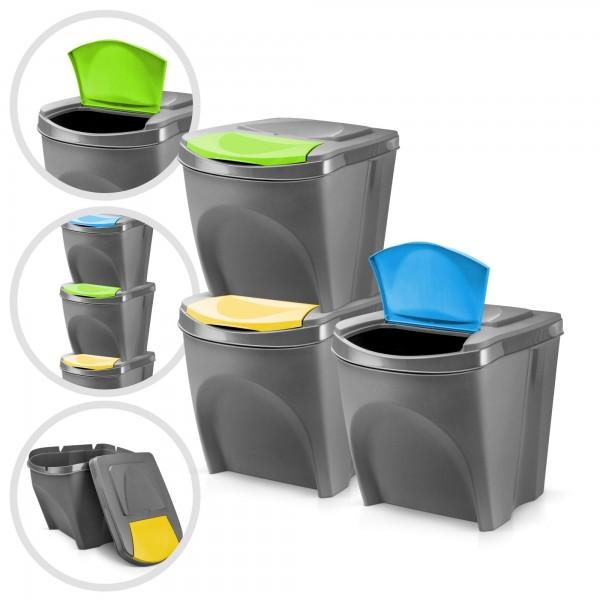 3 x plastový odpadkový koš - šedý - 3 x 20 L - stohovatelný