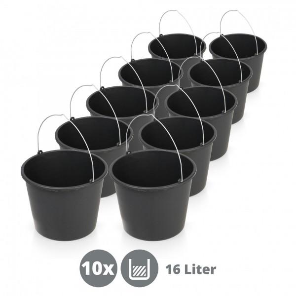 10 x vědro stavební plastové 16 litrů černé