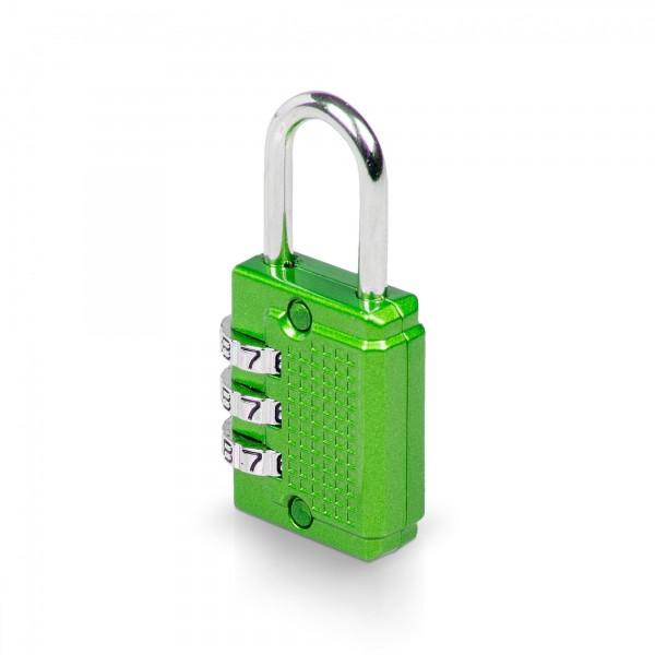 Visací zámek číselný 3-místný kód - 26 x 55 mm - zelený