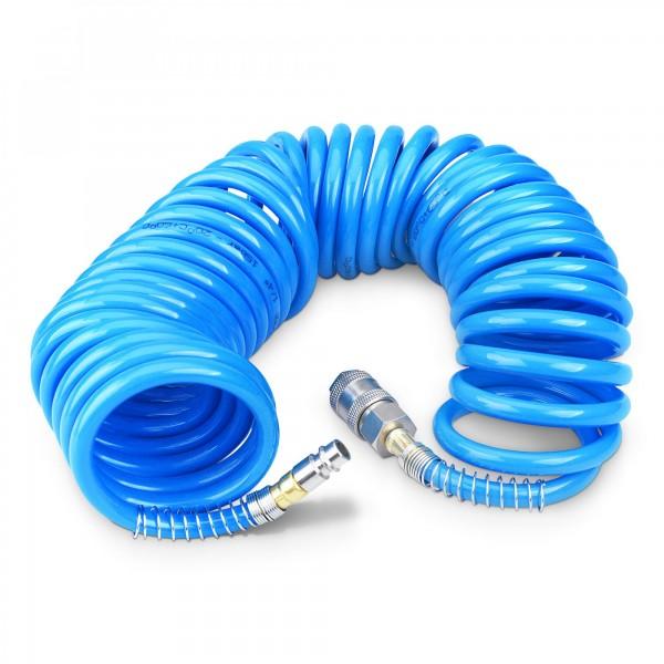 8 m hadice vzduchová spirálová PU 6 mm s mosaznými rychlospojkami