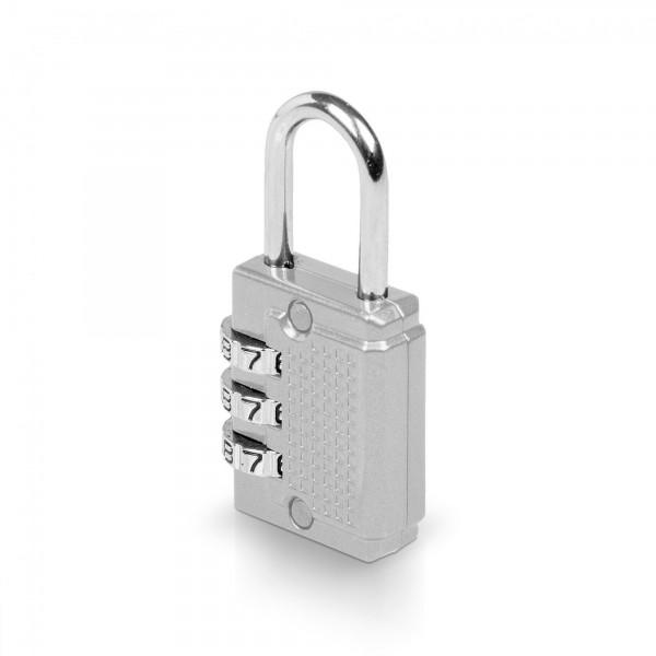 Visací zámek číselný 3-místný kód - 26 x 55 mm - stříbrný